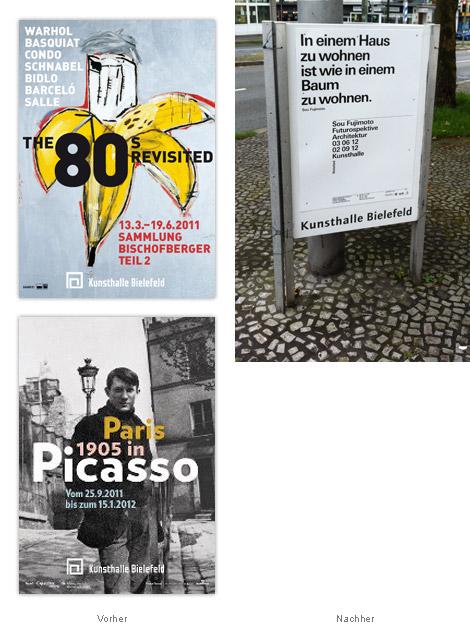 Kunsthalle Bielefeld Plakate vorher nachher alt neu
