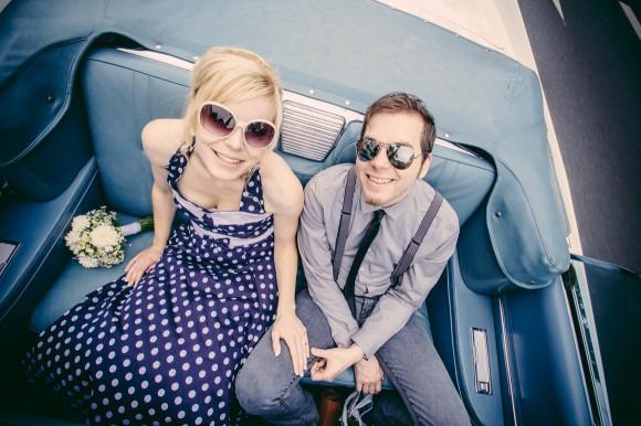 Hochzeitsfotografie Vintage Look Cadillac