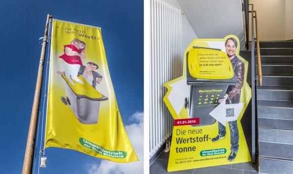 Fahne + Aufsteller, Die neue Wertstofftonne, Umweltbetrieb Bielefeld