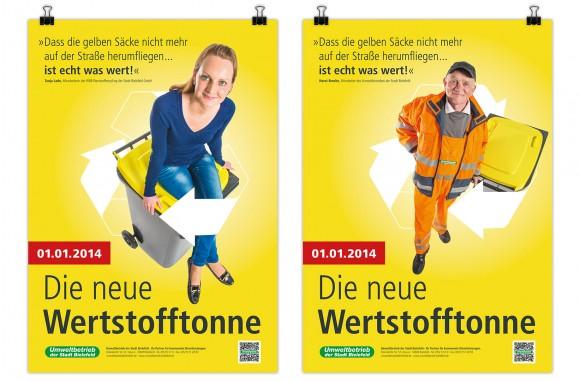 Plakate, Die neue Wertstofftonne, Umweltbetrieb Bielefeld