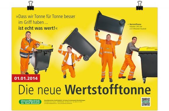 Plakat, Die neue Wertstofftonne, Umweltbetrieb Bielefeld