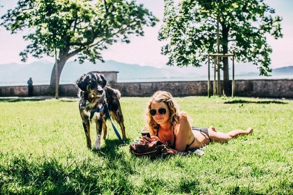 Baden mit Hund am Bodensee