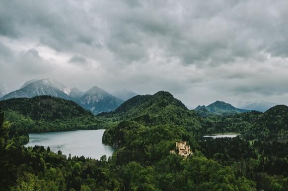 Schloss Hohenschwangau Alpen Panorama
