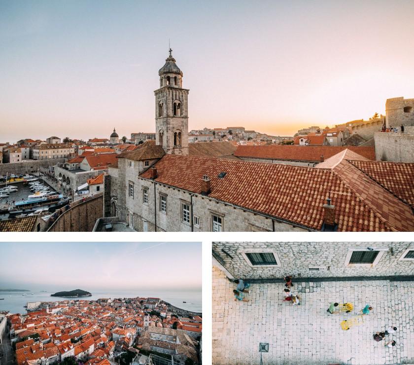 Über den Dächern von Dubrovnik geht die Sonne unter. Wir haben die richtige Tageszeit erwischt!