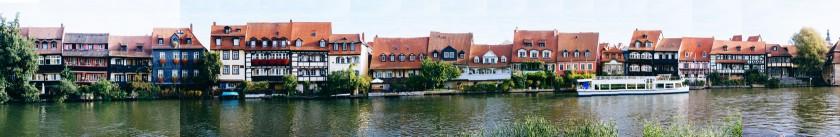 Klein-Venedig: Eine ehemalige Fischersiedlung in Bamberg. Dilettantisch zusammengesetzt als Panorama.