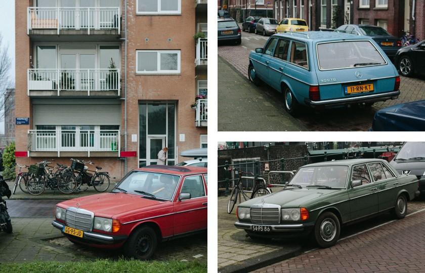 Scheint in Amsterdam sehr beliebt zu sein: der Mercedes W123.