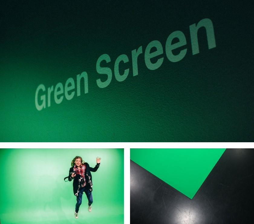 Ein Green Screen Studio: Wir sehen uns in einem Schwarz/weiß Cartoon wieder.