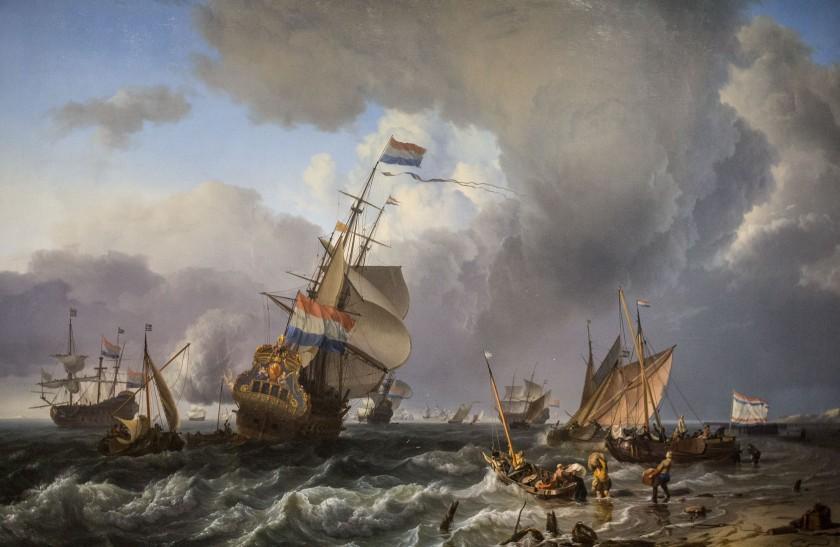 Im Schifffahrtsmuseum Amsterdam hängen sehr schöne alte Gemälde. Ich bin beeindruckt von der Größe und Ausführung.
