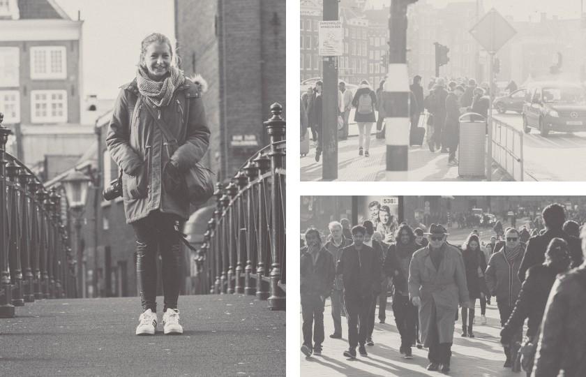 Urbane Szenen in Amsterdam: Ich mag diesen reduzierten Schwarz-/weiß-Look.