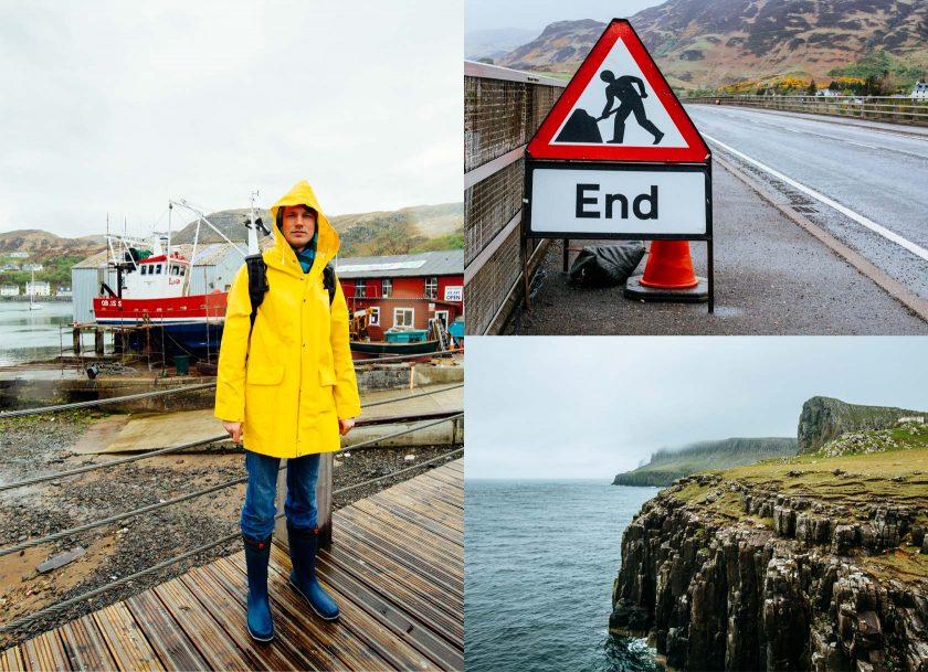 Die Friesennerz ist durchaus von Nutzen. Auf Skye ist es fast nur am Regnen.