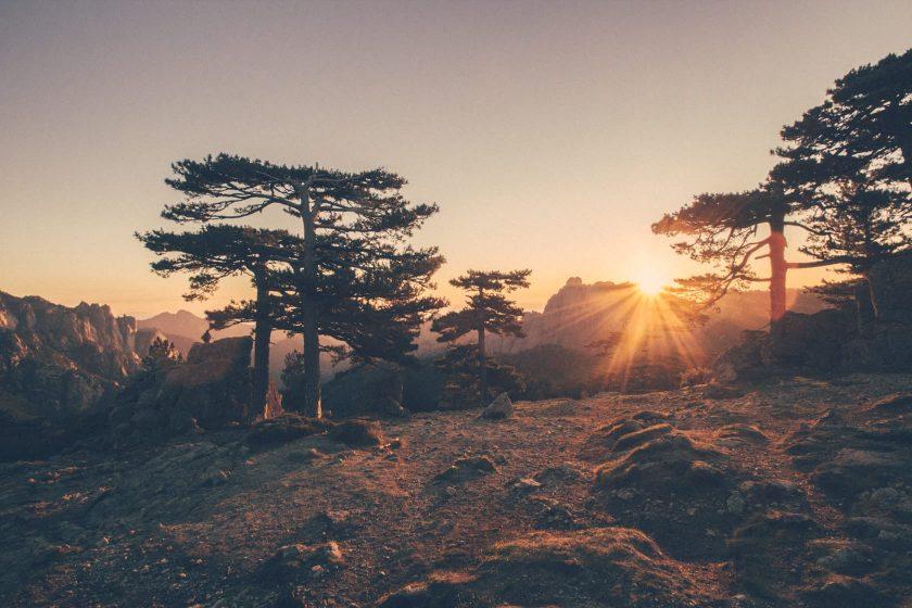 Sonnenaufgang am Col de Bavella auf Korsika