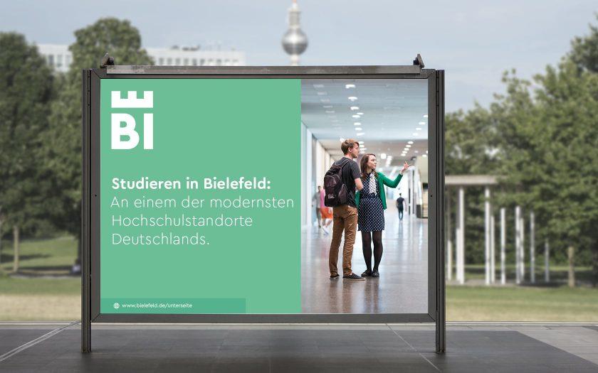 Studieren in Bielefeld: So könnte ein Großflächenplakat in Berlin aussehen.