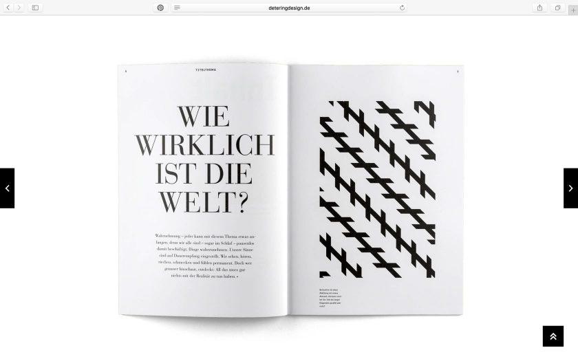 Screenshot der deteringdesign.de Webseite mit einem aufgeschlagenen, freigestellten Magazinlayout.