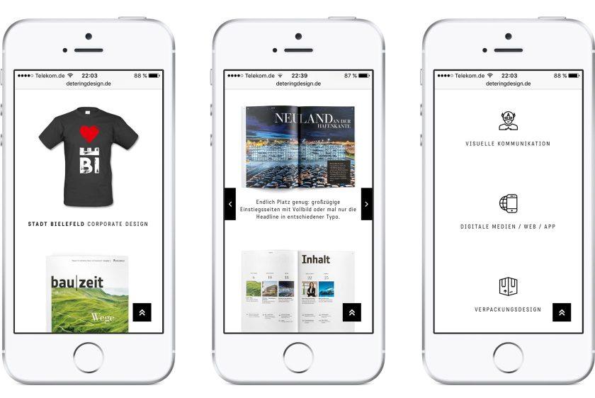 Eine responsive Webseite exemplarisch in drei Smartphones dargestellt