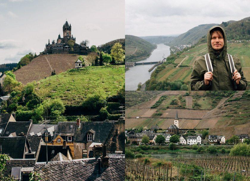 Links: die Reichsburg in Cochem. Rechts: Wanderung in der Moselschleife. Unten: das Örtchen Bremm.
