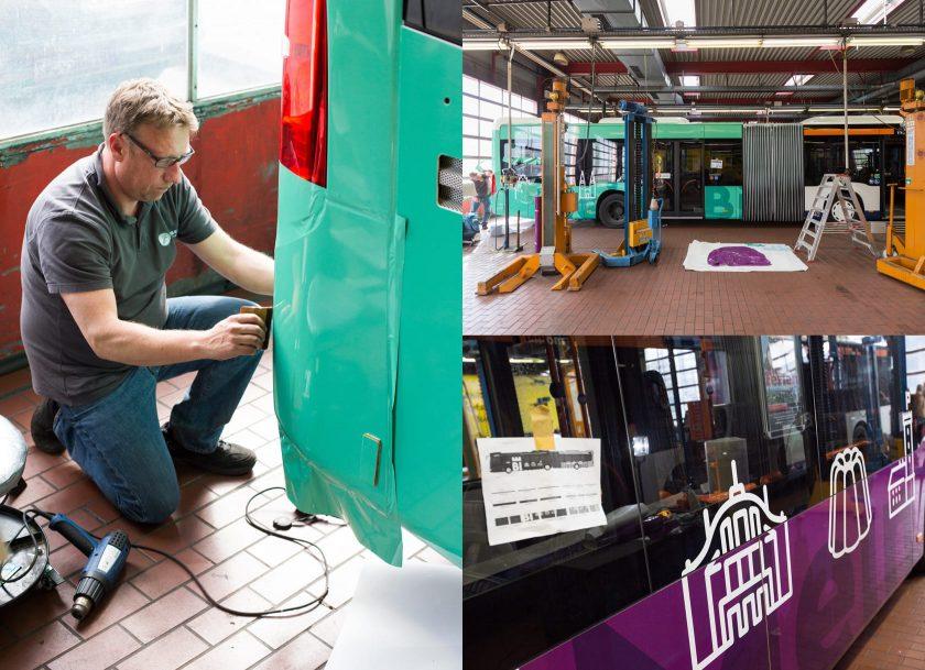 Auf dem moBiel-Betriebshof in Sieker wird der Bus beklebt.