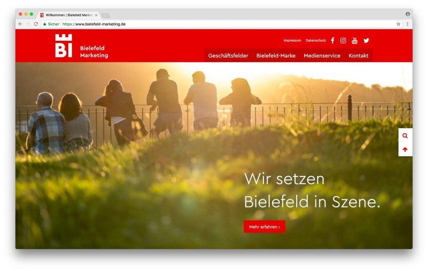 Die Startseite von Bielefeld-Marketing: Großzügige Gestaltung mit dem für Bielefeld typischen Rot.