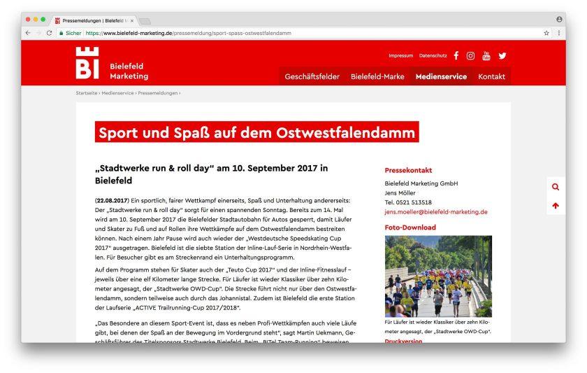 Eine sachliche Inhaltsseite, als Webfont kommt natürlich unsere Cera Bielefeld zum Einsatz.