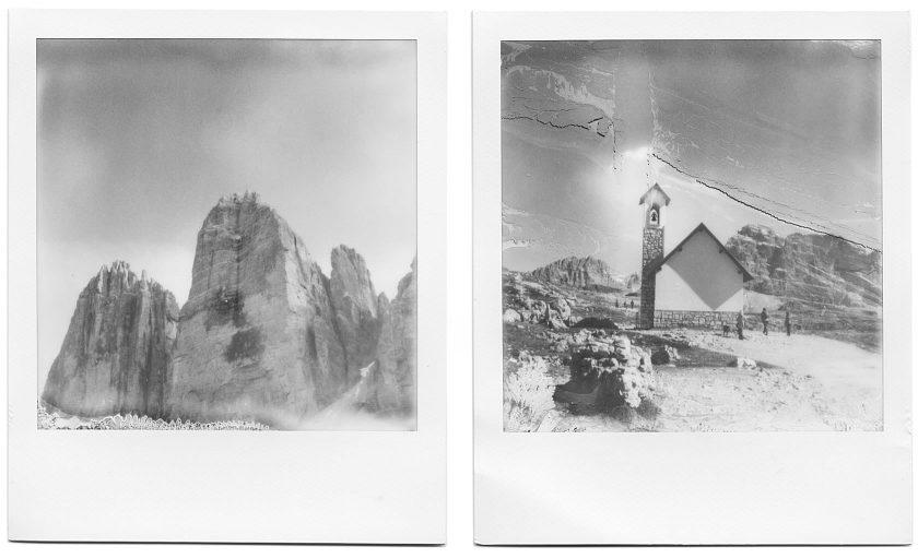 Schwarz-weiß Polaroids vom Königssee, Pragser Wildsee, Drei Zinnen und der Forcella Lavaredo. Kamera: Polaroid SX-70, Film: Impossible B&W