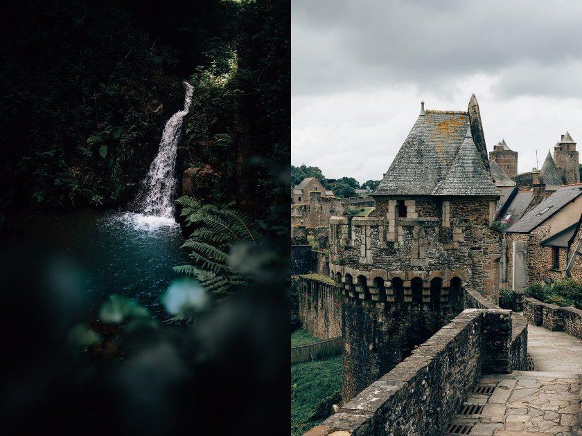 Links ein Wasserfall in Mortain und rechts die Mittelalterstadt Fougères.
