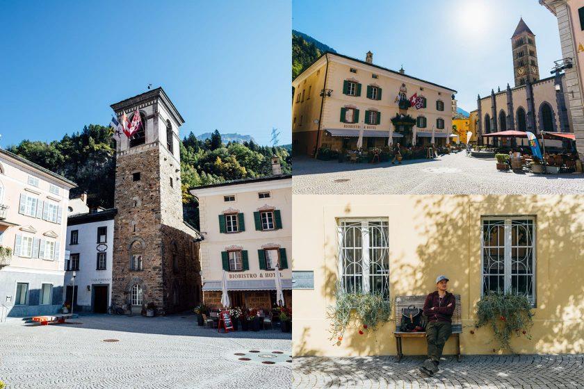 Schöne Altstadt in Poschiavo, nur wenige Kilometer vor der italienischen Grenze.