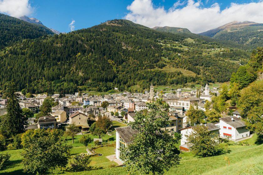 Der Ort Poschiavo in der Region Valposchiavo in Graubünden (Schweiz).