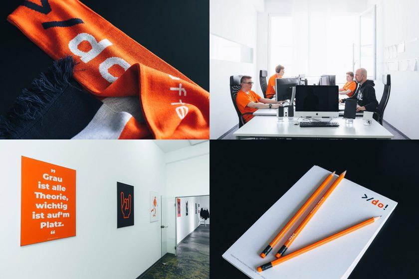Fanschal, Bleistifte, Blöcke und einige Impressionen aus dem Büro der Digitalen Offensive